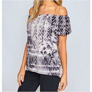 Tops - Boho Off The Shoulder Tie Dye Top SML